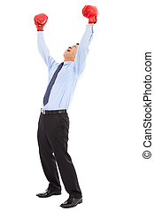 businessman raise arms up to win the competition