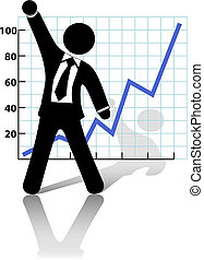 A business man symbol raises his fist in celebration of success against a chart of growth or profit.
