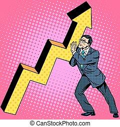 Businessman raises growth chart - Businessman raises growth...