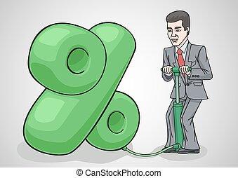 Businessman raises interest rates. - The percentage increase...