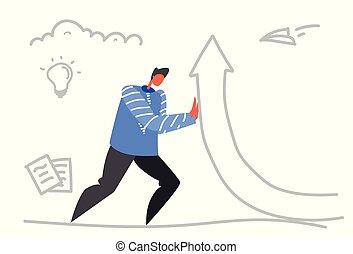 businessman raising financial arrow up growth strategy...