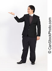 Businessman raising his hand - isolated over a white background