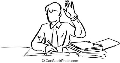 Businessman raising his hand up on working desk vector illustration sketch doodle hand drawn with black lines isolated on white background. Business concept.