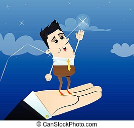 Businessman reaching for the brightest star with a helping hand.