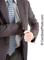 businessman reaching out to his pocket