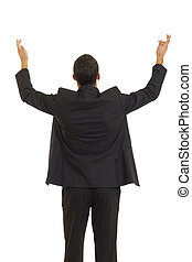 Businessman reaching out with his hands into the air