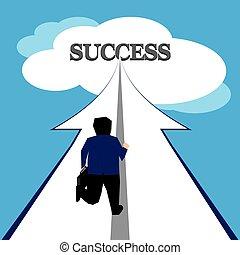 Businessman reaching success