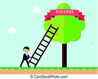 Businessman reaching to the success ribbon on a tree with ladder. Business concept a ladder corporate of success. Vector illustration.