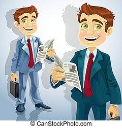 businessman read a news