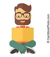 Businessman reading a book - A Businessman having a great...