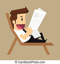 businessman reading a newspaper. vector