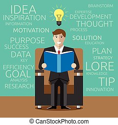 Young businessman reading useful book and light bulb glowing above his head. Reading, useful books, motivation, personal development, inspiration concept. EPS 10 vector illustration, no transparency
