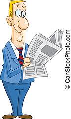 Smiley businessman reading a newspaper