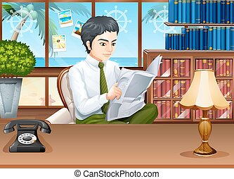Businessman reading newspapers in the office