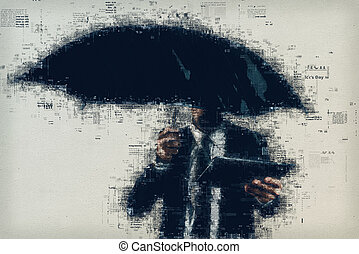 Businessman reading online newspaper outdoors on the rain