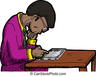 Businessman Reading Tablet - Black man with thick eyeglasses...