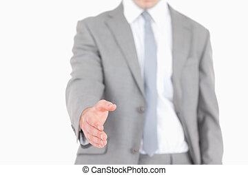 Businessman ready for a handshake
