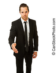 Businessman ready to shake hands. Isolated on white.