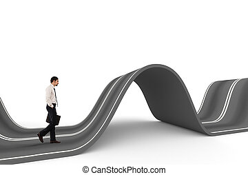 Businessman ready to start on a complicated road. Concept of challenge