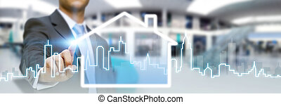 Businessman real estate - Businessman drawing a house with ...