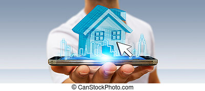 Businessman real estate - Businessman using mobile phone ...