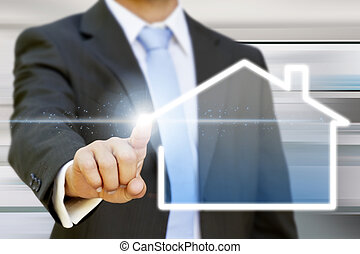 Businessman real estateconcept - Businessman drawing a ...