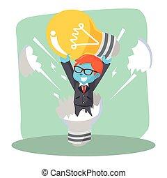 businessman reborn from dead lightbulb