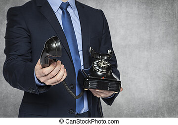 businessman receive a phone call