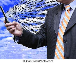 Businessman receiving data