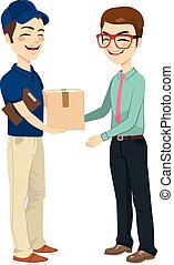 Businessman Receiving Mail Package - Happy young delivery...
