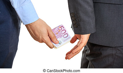 Businessman receiving money