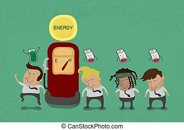 Businessman recharge the energy