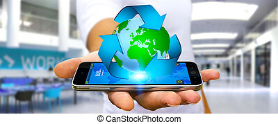 Businessman recycling concept - Businessman with recycling...