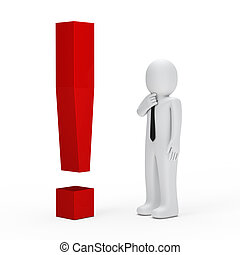 businessman red exclamation mark