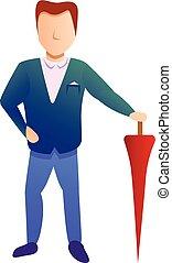 Businessman red umbrella icon, cartoon style