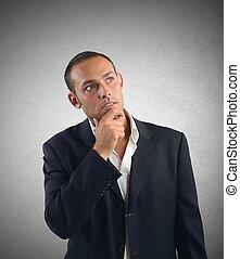 Businessman reflects