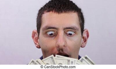 Businessman Rejoices his Money.