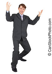 Businessman rejoices on white background