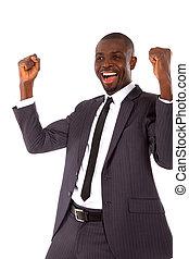 businessman rejoices