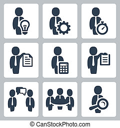 Businessman related vector icons set