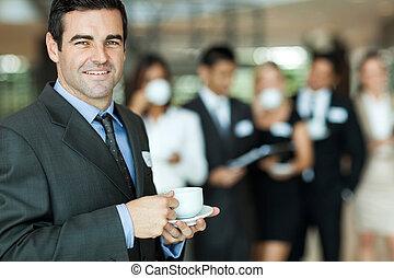 businessman relaxing after a business seminar