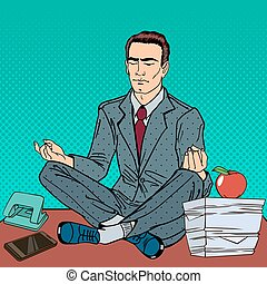 Businessman Relaxing and Meditating on the Office Table. Pop Art. Vector illustration