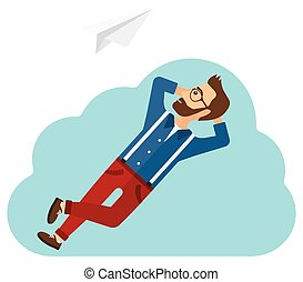 Businessman relaxing on cloud.