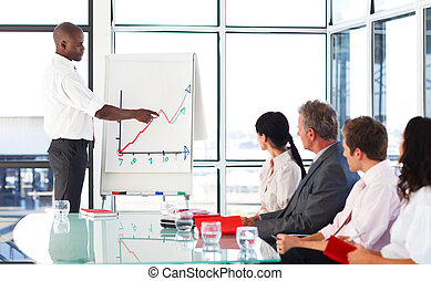 Businessman reporting to graphs to his team in a...