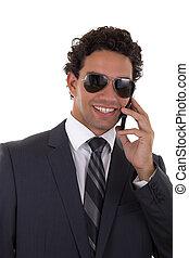 businessman reports good news