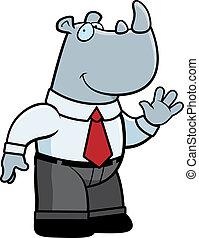 Businessman Rhino - A happy cartoon rhino businessman waving...