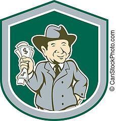 Businessman Rich Man Money Shield Cartoon