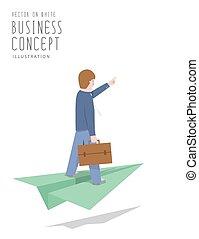 Businessman ride on paper plane flat vector.
