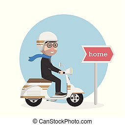 businessman rider motorcycle go to home