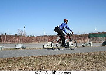 Businessman Rides Bike